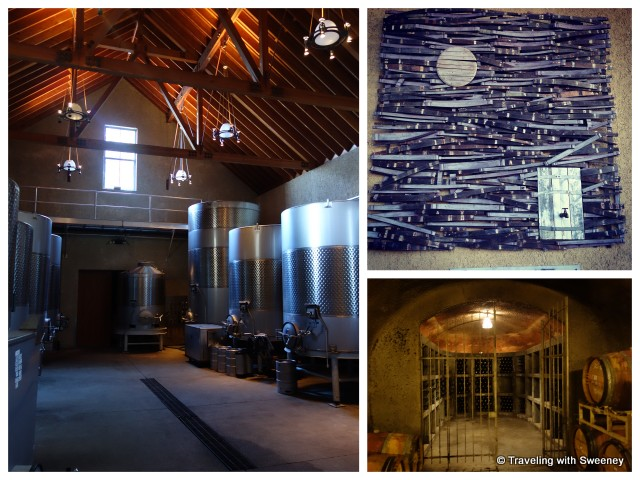 """Long Meadow Randy Mayacamas winery - stainless steel vats, wine cave and art"""