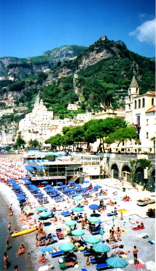 """Sun worshipping on a beach along the Amalfi Coast"""