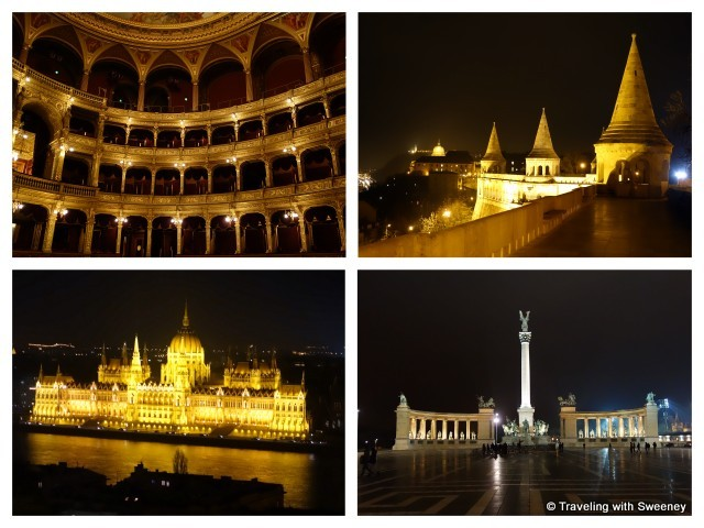 """Hungarian State Opera, Fisherman's Bastion, Heroes' Square, Hungarian Parliament in Budapest"""