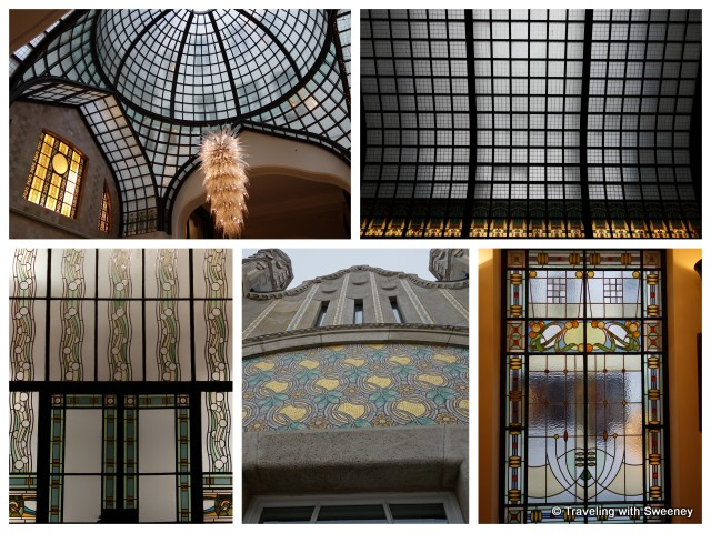 """Stained glass windows, lobby dome ceiling and facade details of the Four Seasons"""