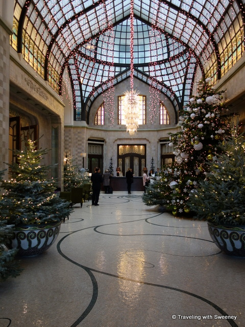 """Four Seasons Budapest lobby decorted for Christmas -- ""A Winter Wonderland"""