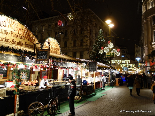 """Food stand at Vorosmarty Chrismas market, Budapest"""