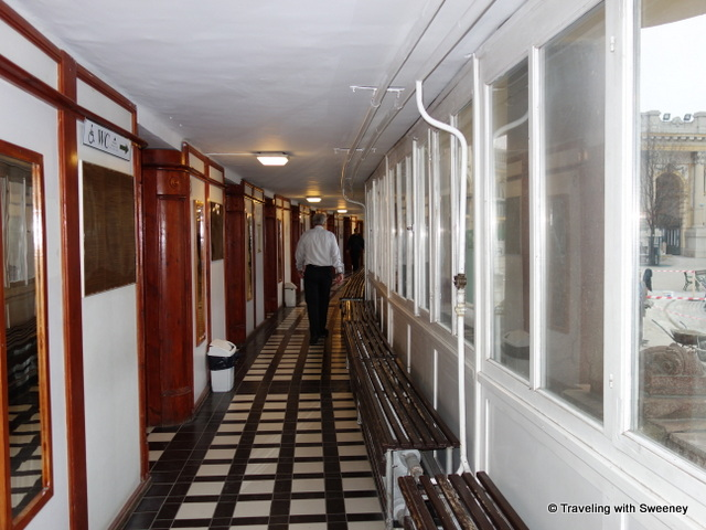 """Corridor of the Széchenyi Baths changing cabins"""