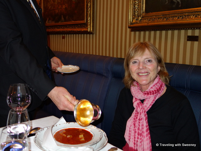 """Being served Goulash Soup à la Charles Gundel at Gundel Restaurant in Budapest"""