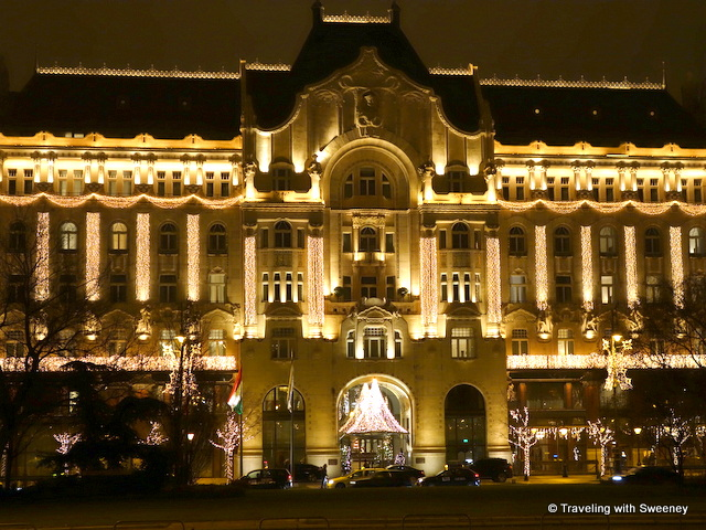 """The Four Seasons Gresham Palace Budapest decorated with lights for Christmas"""
