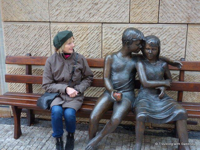"""Sculpture of a young couple outside of Four Seasons Prague"""