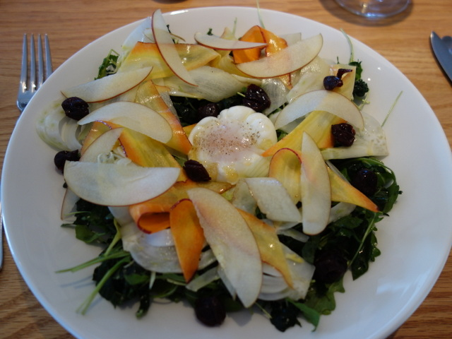 """At Long Meadow Randy, Winter Vegetable Salad prepared by Tim Mosblech -- poached egg, lacinato kale, Meyer lemon vinaigrette"""