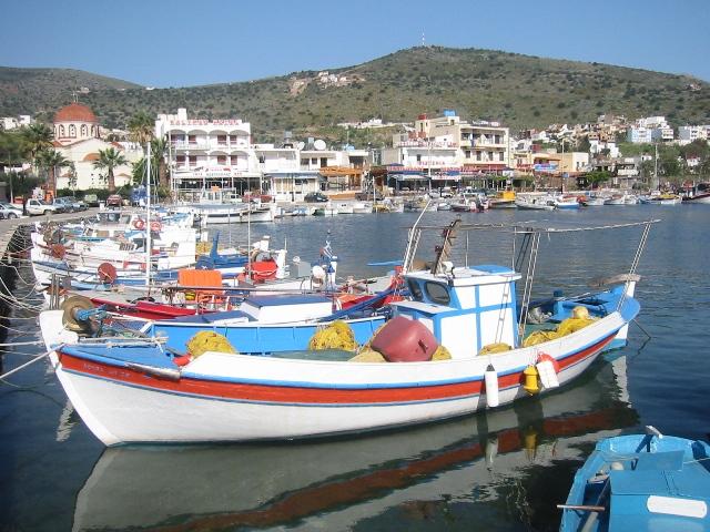 """""""Colorful little boats bobbing in Elounda Harbor, Crete"""""""