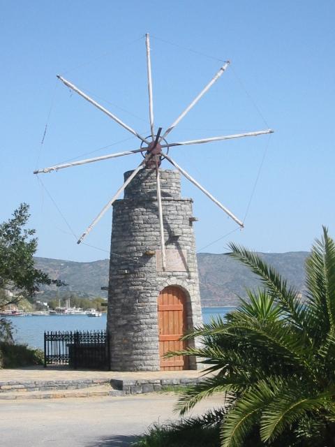 """Windmill across the street from my room in Elounda, Crete"""