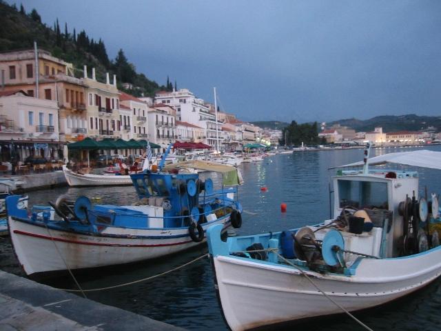 """Scene of Elounda Crete along the harbor"""