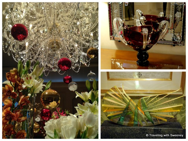 """Holiday decor and glass artwork by Czech artists in Four Seasons lobby"""