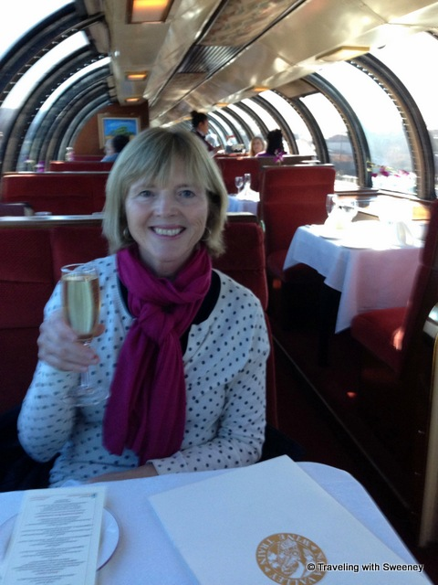 """On the Napa Valley Wine Train with a welcome glass of Chandon sparkling wine"""