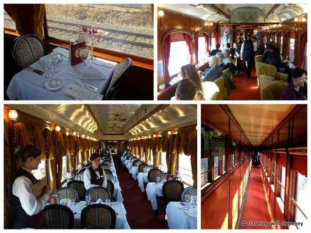 """""""From bottom left: Le Gourmet Express dining car, table for two in Le Gourmet, Lounge car, corridor on Napa Valley Wine Train"""""""