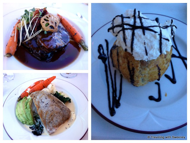 """Sea Bass and Roasted Beef Tenderloin entrees, Chocolate Pot Pie for dessert on the Napa Wine Train"""