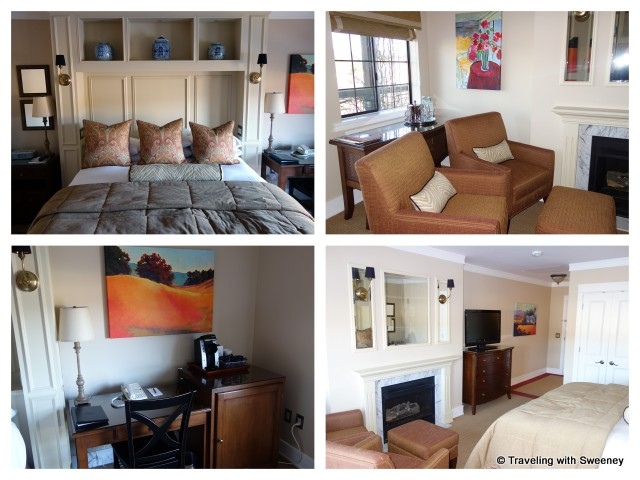 """""""Furnishings and decor of Plaza Deluxe Room at the Napa River Inn, including the cozy fireplace"""""""