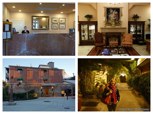 """Napa River Inn reception, lobby, walkway between buildings and view of Plaza Building"""