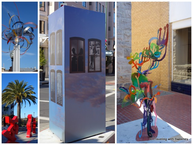 """Napa Art Walk sculptures: Morphing Orbits, Constellations II, Windows in the Ky and Tree of Life"""