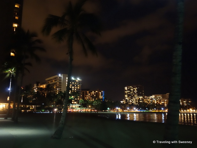 """Lights of Waikiki Beach and the Hilton Hawaiian Village, Honolulu"""