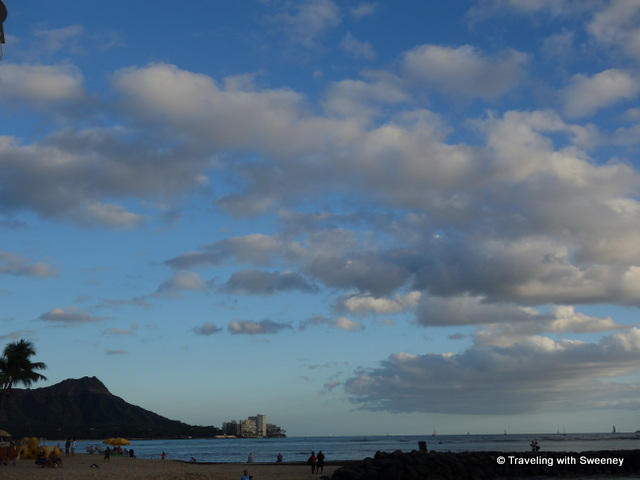 """Diamond Head from the promenade along Waikiki Beach, Honolulu"""