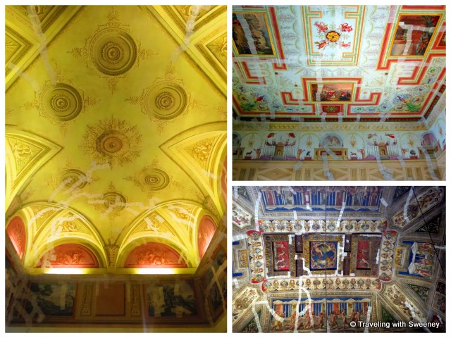 """Tape marking areas of Castello Estense ceilings damaged by earthquake - Ferrar, Italy"""