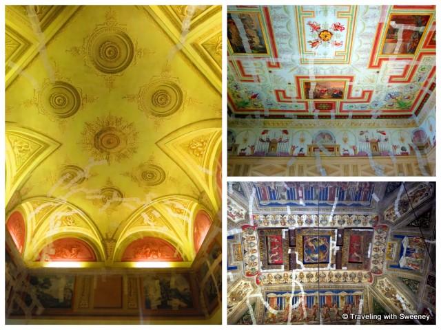"""Tape marking areas of Castello Estense ceilings damaged by earthquake - Ferrar, Italy"""