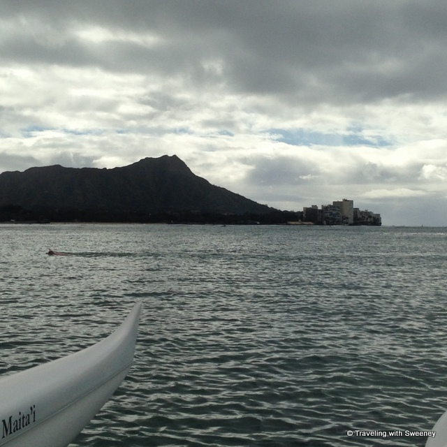 """Diamond Head seen from a canoe, Honolulu, Hawaii"""