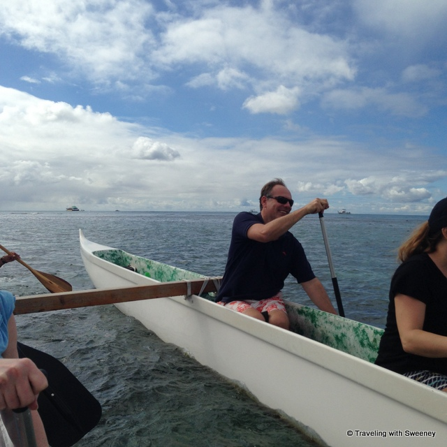 """Crewmates on the double-hulled canoe"""