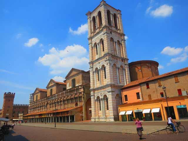 """""""Piazza Trento e Trieste and side view of Cattedrale di San Giorgio, Ferrar, Italy"""""""