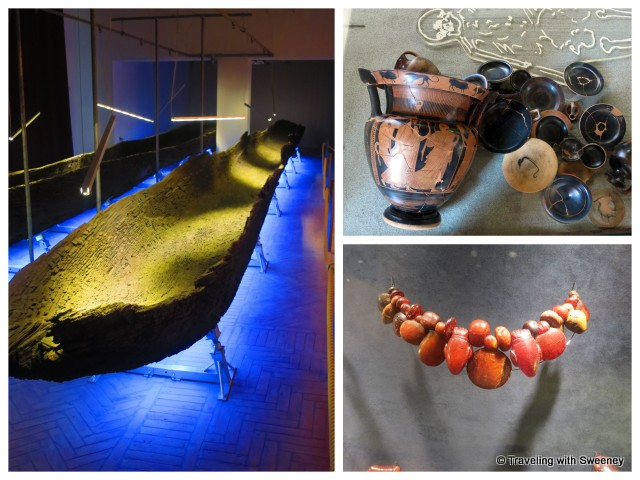 """Ancient boat, Attic vases, amber jewelry at the National Archaeology Museum in Ferrara, Italy"""