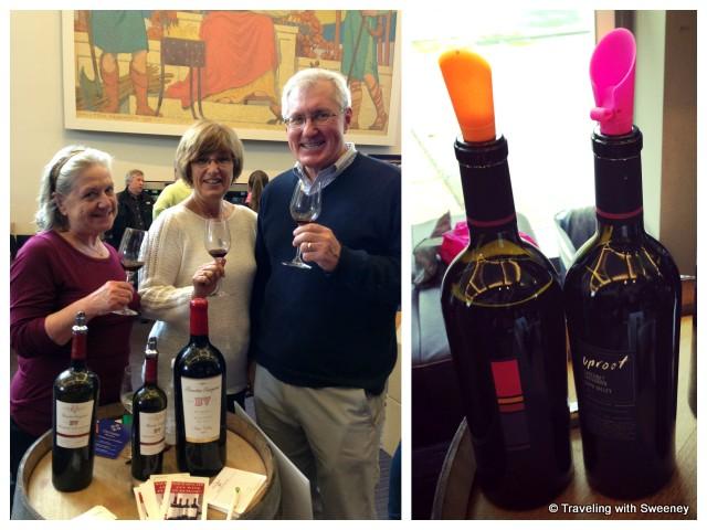 """BV Beaulieu Vineyards represenatives and Uproot Cabernet bottles at CabFest Napa Valley 2014"""