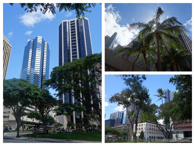 Skyscrapers and palm trees in downtown Honolulu""