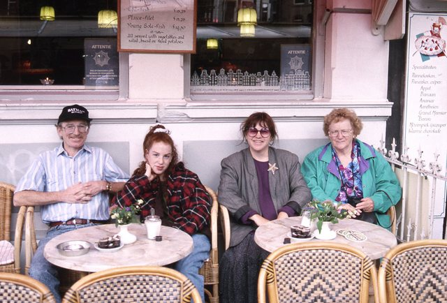 """Carole Terwilliger Meyers of Travels with Carole at a cafe in Amsterdam while traveling with mom"""