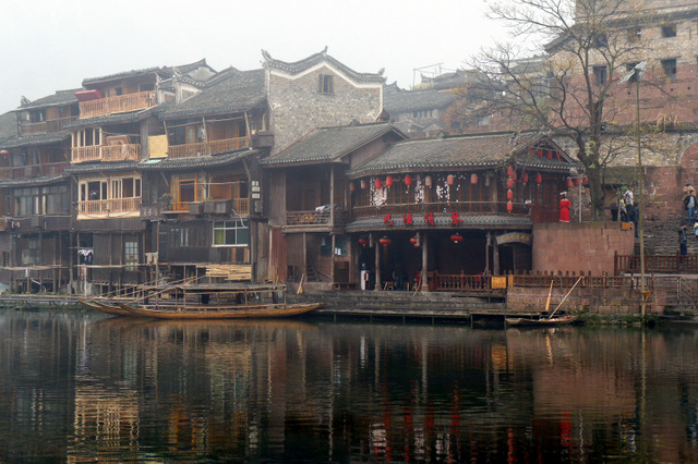 """Authentic and unchanged buildings along the river in Fenghuang, Hunan, China"""