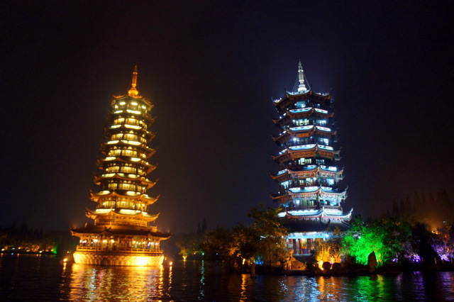"""""""Lighted buildings at night in Guilan, China"""""""
