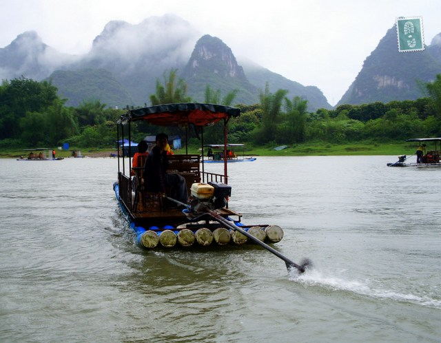 """Boat on Yangshuo River, Guilin, China"""
