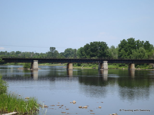 """Train bridge over Menominee River connecting Wisconsin and Michigan, Marinette, Wisconsin"""