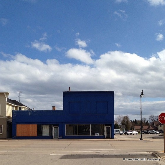 """Blue building, downtown Marinette, Wisconsin"""
