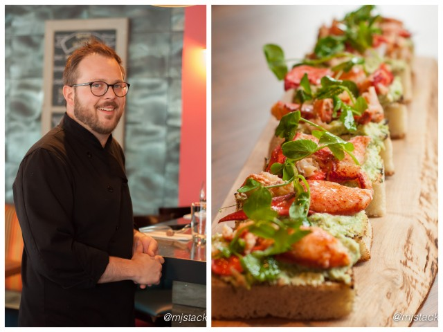 """Chef Andrew Farrell and Lobster bruschetta at 2 Doors Down in Halifax, Nova Scotia"""