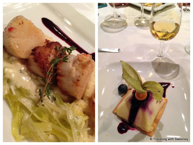 """Lobster Stuffed Digby Scallops and Blueberry Lime Cheesecake at the Five Fishermen Restaurant & Grill, Halifax, Nova Scotia"""