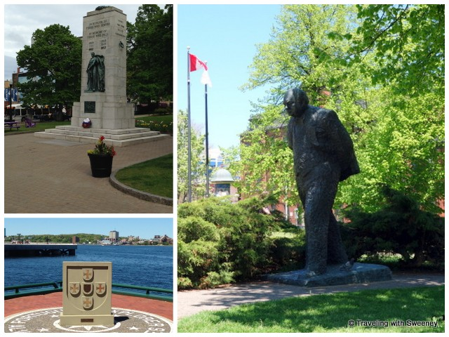 """Memorials and Winston Churchill statue in Halifax, Nova Scotia"""