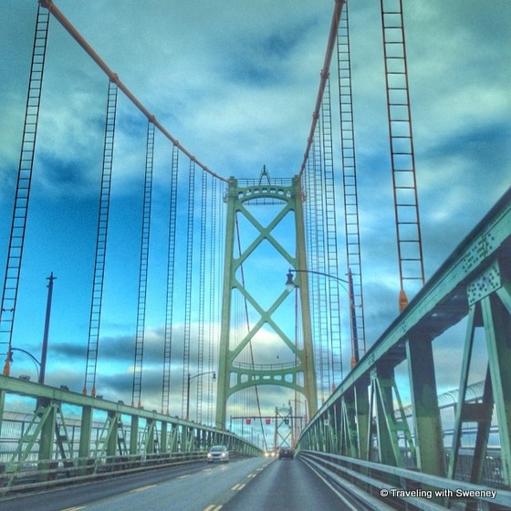 """Crossing the Angus L. Macdonald Bridge from Dartmouth to Halifax, Nova Scotia"""