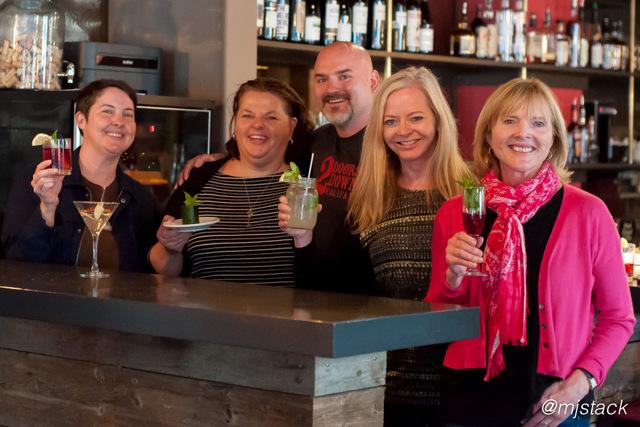 """""""Kelsy Chauvin, Michele Sponagle, """"Crusher"""", Karen Schaler and Catherine Sweeney at 2 Doors Down in Halifax, Nova Scotia"""""""