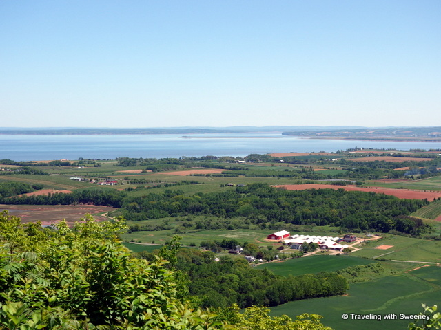 """View of the Annapolis Valley and Bay of Fundy from the Look Off near Canning, Nova Scotia"""
