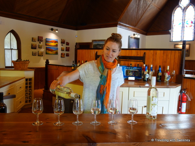 """Pouring white Nova Scotia wines at Avondale Sky Winery"""