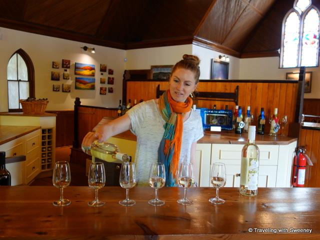 """Pouring white Nova Scotia wines at Avondale Sky Winery"""