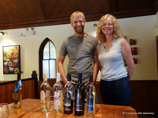 """Winemaker Ben Swetnam and Winery owner Lorraine Vassalo at Avondale Sky Winery, Nova Scotia"""