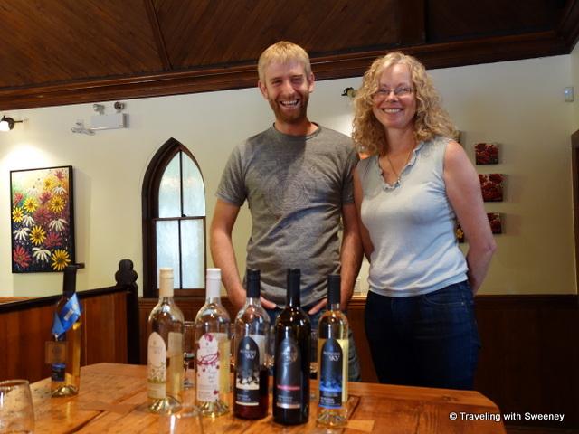 """Winemaker Ben Swetnam and Winery owner Lorraine Vassalo at Avondale Sky Winery, Nova Scotia"""