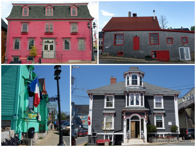 """Colorful buildings and Mariner King Inn, Lunenburg, Nova Scotia"""