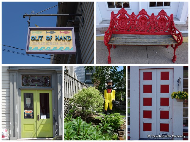 """Shop sign, bench on King Street, colorful doors and yard display in Lunenburg, Nova Scotia"""