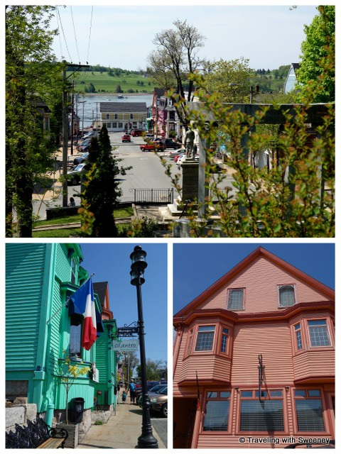 """UNESCO Fresco, Top: King Street from Memorial Park Bottom: Cilantro and Rime Restaurant in Lunenburg, Nova Scotia"""
